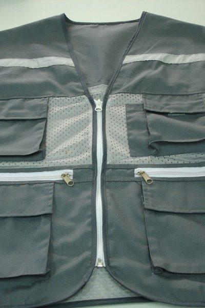 Đồng phục bảo hộ lao động bán sẵn – Áo gi lê màu xám 02