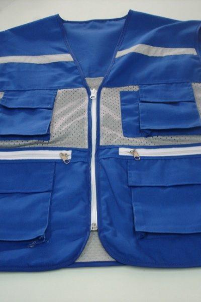 Đồng phục bảo hộ lao động bán sẵn – Áo gi lê màu xanh 03