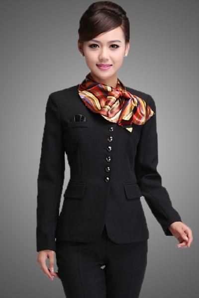 Đồng phục nhà hàng khách sạn – Đồng phục lễ tân quần tây đen, vest đen 01