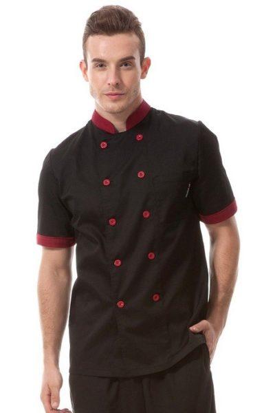 Đồng phục nhà hàng khách sạn – Đồng phục bếp màu đen phối đỏ01