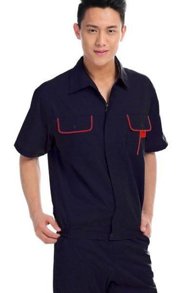 Đồng phục bảo hộ lao động – Quần áo bảo hộ lao động màu xanh đen phối đỏ tay ngắn 01