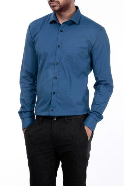 Đồng phục công sở – Áo sơ mi nam dài tay xanh navy 01
