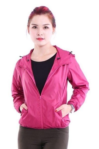 Đồng phục áo khoác – Áo khoác gió màu hồng có nón 14