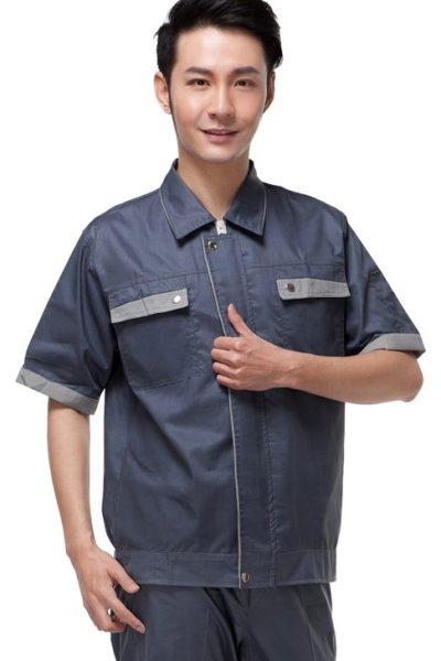 Đồng phục bảo hộ lao động – Quần áo bảo hộ lao động màu xám tay ngắn 02