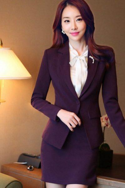 Đồng phục nhà hàng khách sạn – Đồng phục lễ tân váy tím, vest tím 03