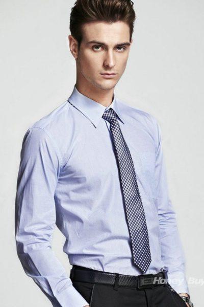Đồng phục công sở – Áo sơ mi nam dài tay tím nhạt 03