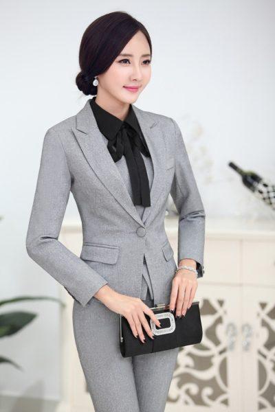 Đồng phục công sở – Áo vest nữ màu xám 03