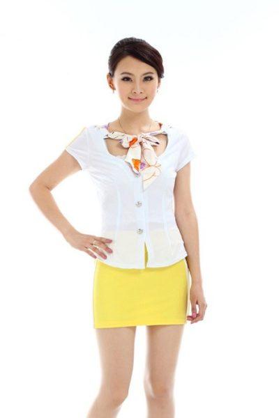 Đồng phục PG áo trắng váy vàng 03