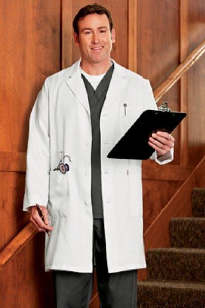 Đồng phục bệnh viện – Đồng phục áo blouse nam màu trắng tay dài 03