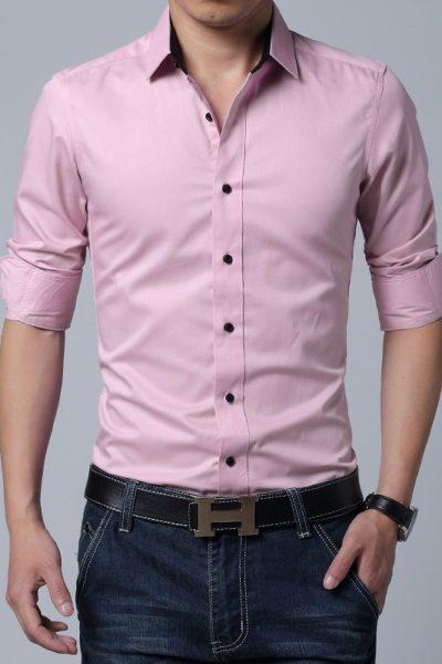 Đồng phục công sở – Áo sơ mi nam dài tay màu hồng 04