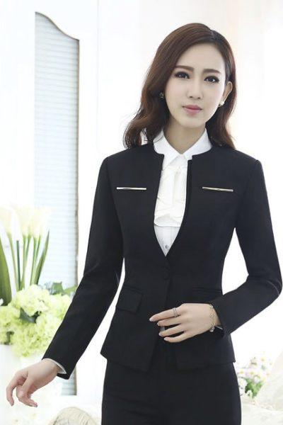 Đồng phục công sở – Áo vest nữ màu đen 04