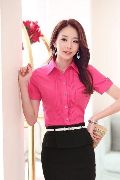 Đồng phục công sở – Áo sơ mi nữ màu hồng tay ngắn 02