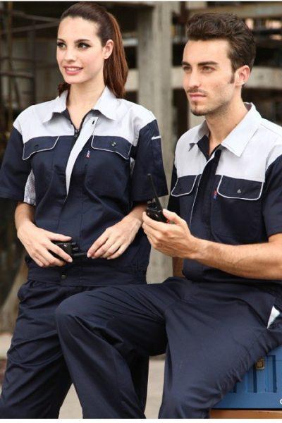 Đồng phục bảo hộ lao động – Quần áo bảo hộ lao động màu xanh đen phối trắng tay ngắn  05