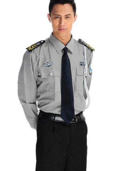 Đồng phục bảo vệ vệ sĩ – Quần áo bảo vệ vệ sỹ màu xám tay dài 05