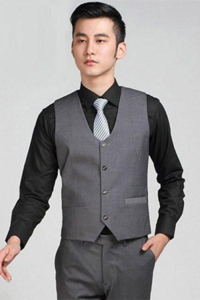 Đồng phục công sở – Ghi lê nam màu xám 05