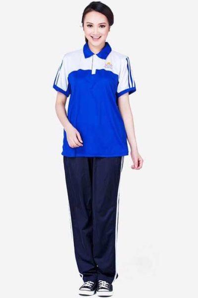 Đồng phục học sinh sinh viên – Đồng phục sinh viên áo thun cổ trụ màu xanh trắng 04
