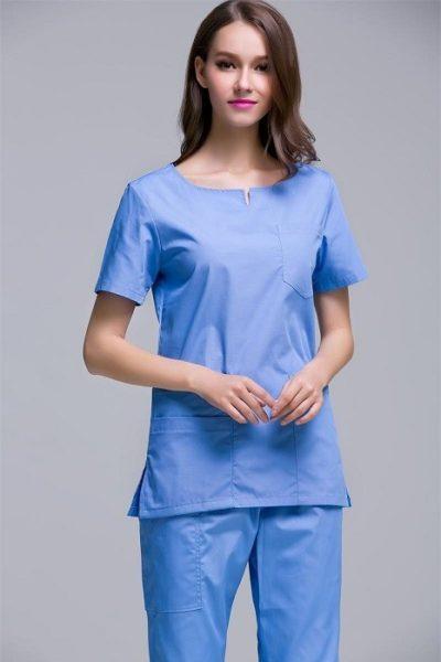 Đồng phục bệnh viện – Đồng phục y tá màu xanh tay ngắn 05