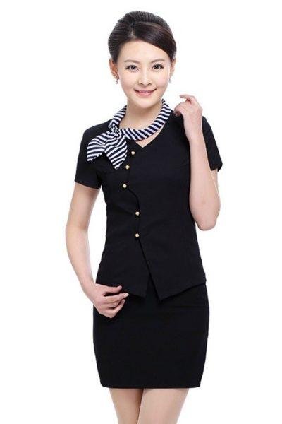 Đồng phục nhà hàng khách sạn – Đồng phục quản lý váy đen, áo đen 05