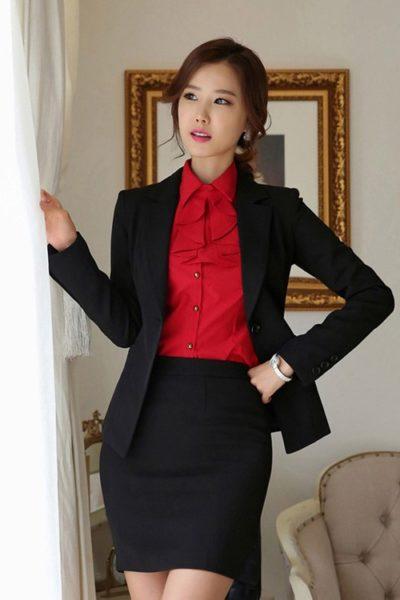 Đồng phục công sở – Áo vest nữ màu đen 06