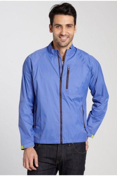 Đồng phục áo khoác – Áo khoác gió màu xanh không nón 05