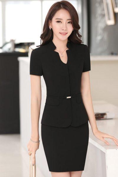 Đồng phục nhà hàng khách sạn – Đồng phục quản lý váy đen, vest đen 06
