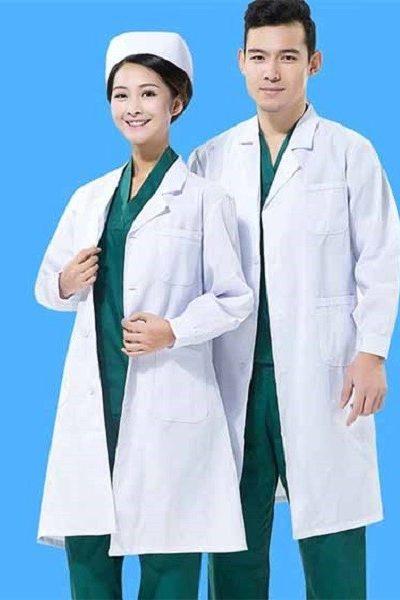 Đồng phục bệnh viện – Đồng phục áo blouse nam nữ màu trắng tay dài 06