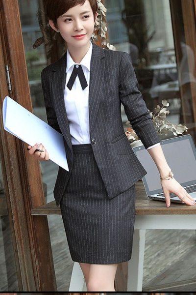 Đồng phục nhà hàng khách sạn – Đồng phục quản lý váy đen, vest đen 07
