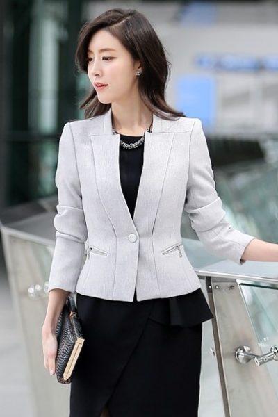 Đồng phục công sở – Áo vest nữ màu trắng 07