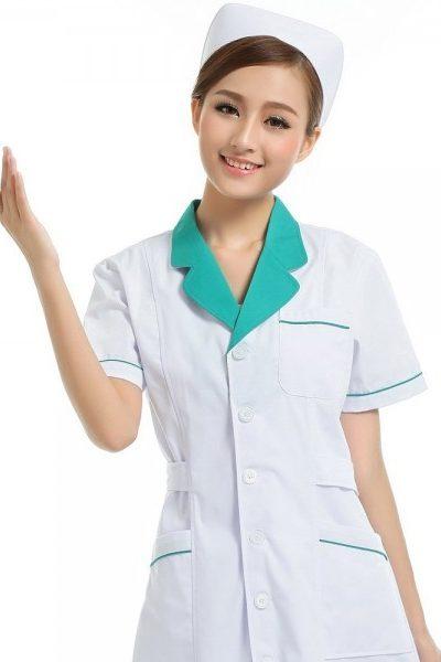 Đồng phục bệnh viện – Đồng phục áo blouse nữ màu trắng phối xanh tay ngắn 07