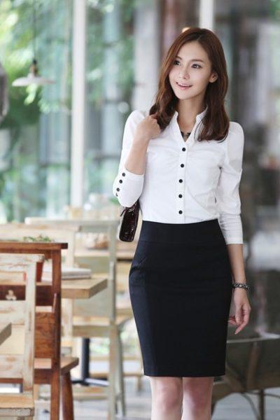 Đồng phục công sở – Áo sơ mi nữ màu trắng tay dài 04