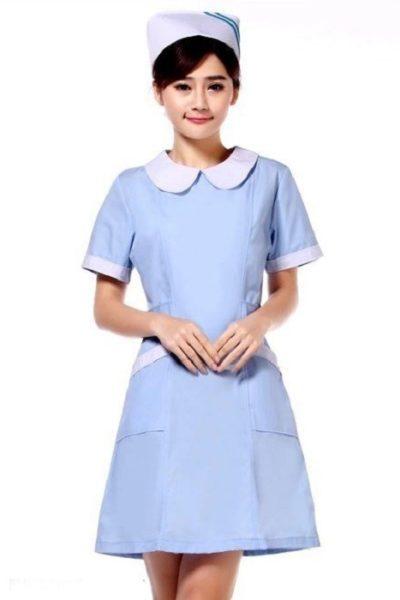 Đồng phục bệnh viện – Đồng phục y tá màu xanh phối trắng tay ngắn 07