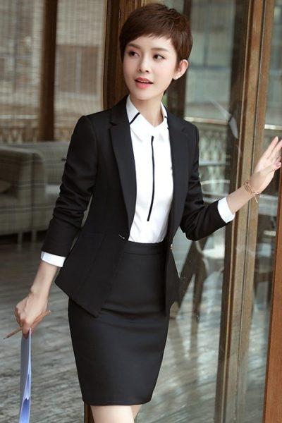 Đồng phục nhà hàng khách sạn – Đồng phục quản lý váy đen, vest đen 08