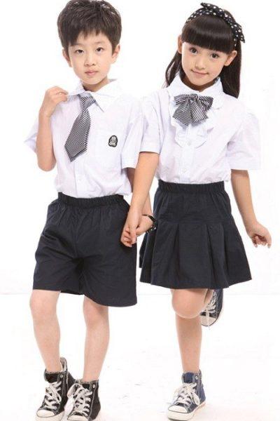 Đồng phục học sinh sinh viên – Đồng phục học sinh cấp I váy, quần đen, áo sơ mi trắng 08