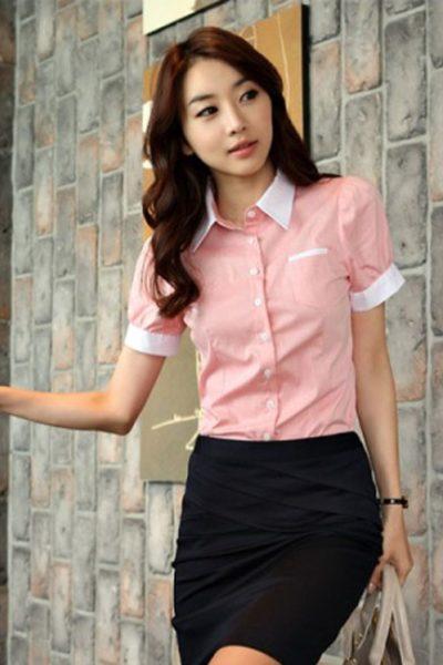 Đồng phục công sở – Áo sơ mi nữ màu hồng viền trắng tay ngắn 05