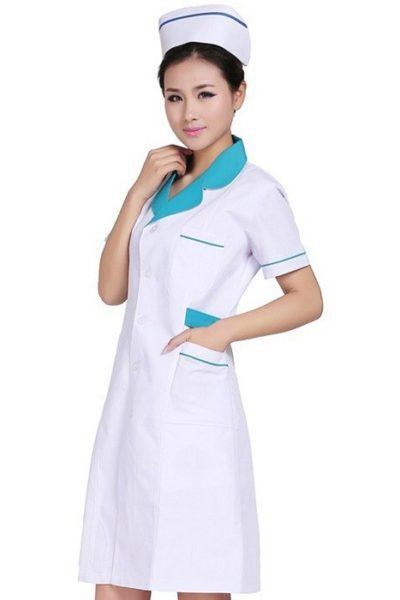 Đồng phục bệnh viện – Đồng phục y tá màu trắng phối xanh tay ngắn 08