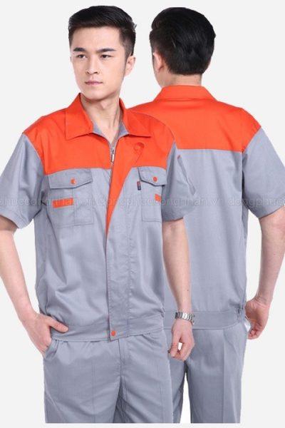 Đồng phục bảo hộ lao động – Quần áo bảo hộ lao động màu xám phối cam tay ngắn 08