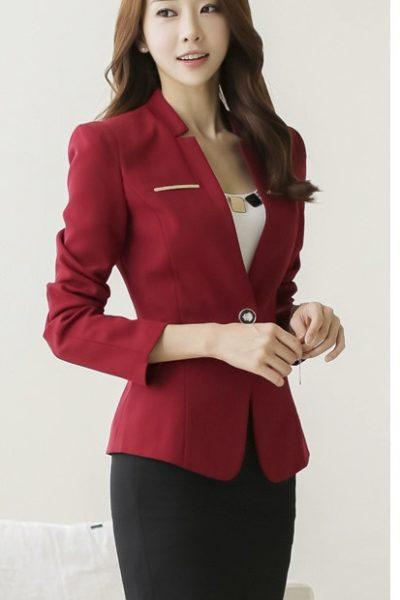 Đồng phục công sở – Áo vest nữ màu đỏ đô 09