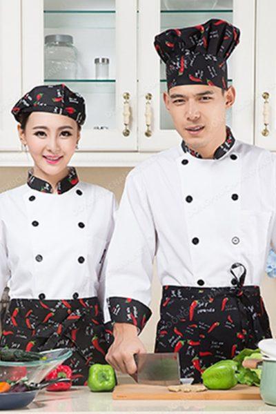 Đồng phục nhà hàng khách sạn – Đồng phục bếp họa tiết trái ớt 09