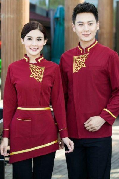 Đồng phục nhà hàng khách sạn – Đồng phục pha chế quần tây đen, áo cách tân đỏ 09