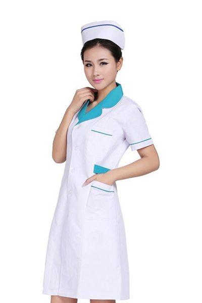 Đồng phục bệnh viện – Đồng phục áo blouse màu trắng phối xanh tay ngắn 09