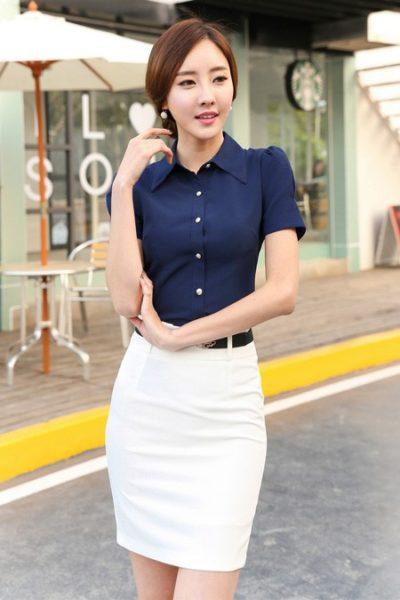 Đồng phục công sở – Áo sơ mi nữ màu xanh đen tay ngắn 06