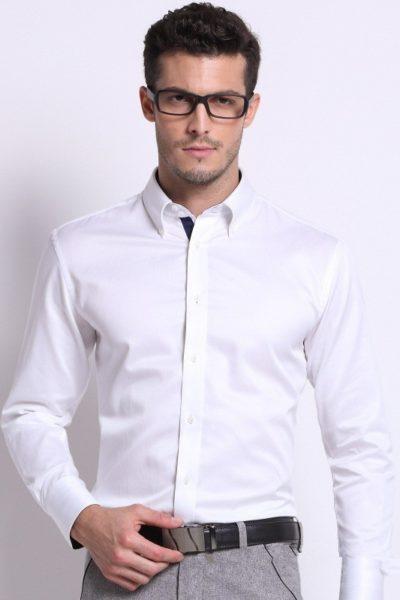 Đồng phục công sở – Áo sơ mi nam dài tay màu trắng 09