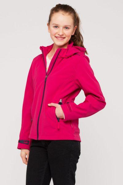 Đồng phục áo khoác – Áo khoác gió màu hồng có nón 09
