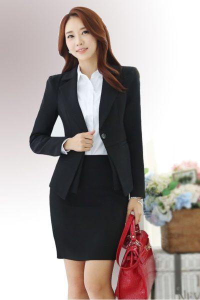 Đồng phục công sở – Áo vest nữ màu đen 10