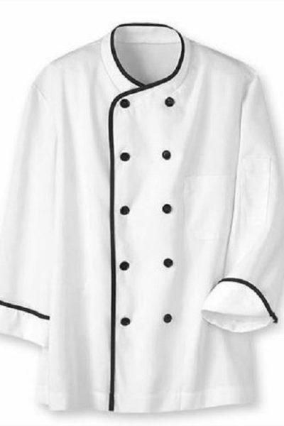Đồng phục nhà hàng khách sạn – Đồng phục bếp áo trắng viền đen 10