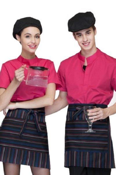 Đồng phục nhà hàng khách sạn – Đồng phục pha chế tạp dề sọc, áo cổ trụ hồng 10