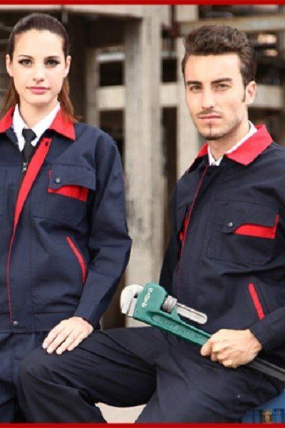 Đồng phục bảo hộ lao động – Quần áo bảo hộ lao động màu xanh đen phối đỏ tay dài 10