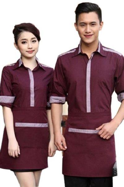 Đồng phục nhà hàng khách sạn – Đồng phục pha chế tạp dề đỏ, áo sơ mi đỏ  11
