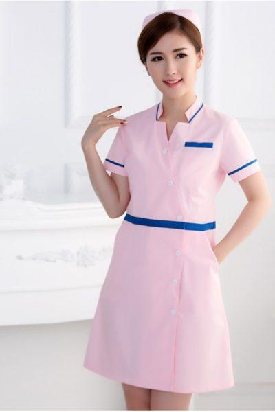 Đồng phục bệnh viện – Đồng phục y tá màu hồng phối xanh tay ngắn 11