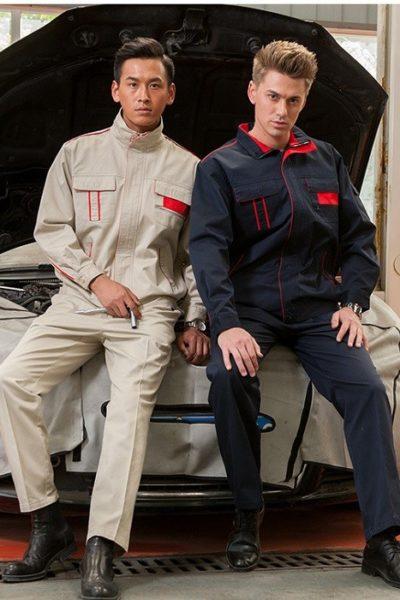 Đồng phục bảo hộ lao động – Quần áo bảo hộ lao động kem và xanh phối đỏ tay dài 11